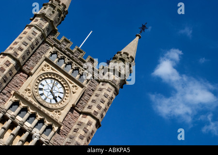 Clock Tower and Cloud Over The Main Entrance to Temple Meads Railway Station in Bristol England - Stock Photo