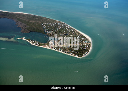 Aerial photo of North Captiva Island, Safety Harbor, Foster Bay, Captiva Pass, Foster Point, North Captiva Airport, - Stock Photo