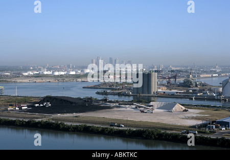 Aerial photo of heavy industry plants on Pendola and Black Point Tampa Bay Tampa Florida - Stock Photo