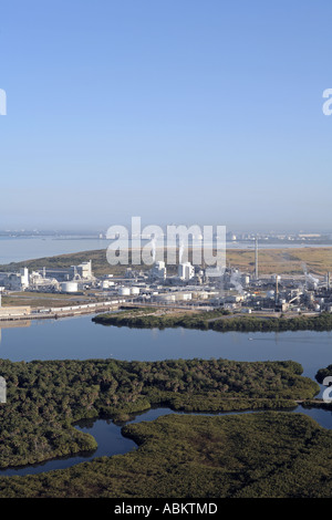 Aerial photo of heavy industrial factory plant on Alafia River Gibsonton Tampa Bay South Channel Florida - Stock Photo