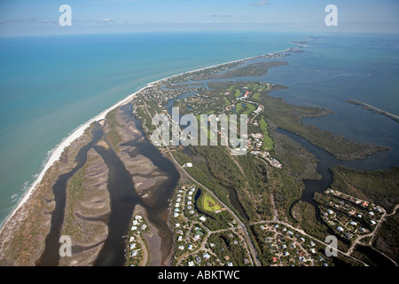 Aerial of Sanibel Island, Silver Key, Wulfert keys, Albright key, Runyan Key, Buck Key, Captiva Island, Kesson Bayou, - Stock Photo