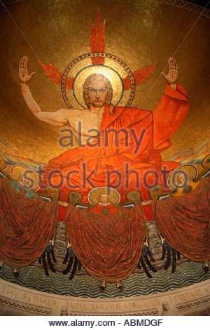 Mosaic of Jesus above and behind the main altar at the National Shrine of the Immaculate Conception in Washington - Stock Photo