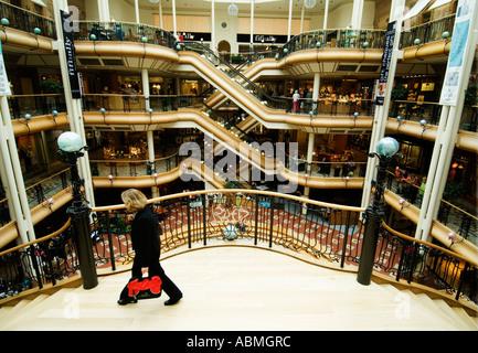 Interior of upmarket Princes Square shopping mall in Glasgow Scotland - Stock Photo
