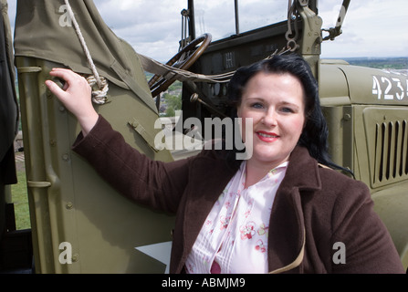 Female fashion of the Roaring 40's War. Wartime weekend Stirling Castle, Scotland UK historic events - Stock Photo