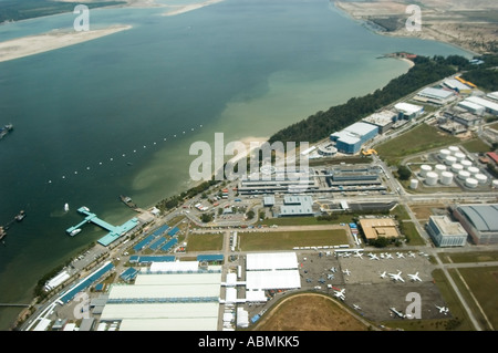 Changi Airport and coastline, Singapore from the air - Stock Photo
