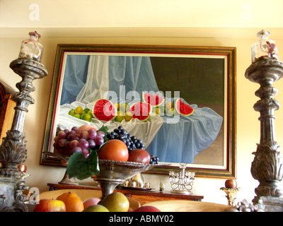 opulant dining room plentiful fruit lavish decor at a private english country estate worcestershire great britian - Stock Photo