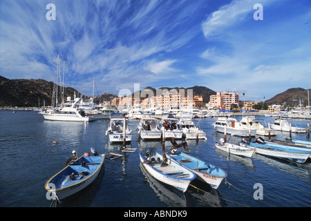 Yachts and boats in Cabo San Lucas Marina in Baja, Mexico - Stock Photo