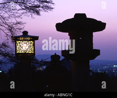 Nigatsudo temple lanterns at dusk Nara Japan - Stock Photo