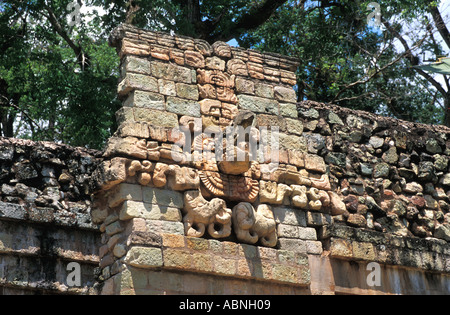 Honduras Copan Ruinas Maya ruins ball court with parrot head of the scarlet macaw, now the national bird of Honduras - Stock Photo