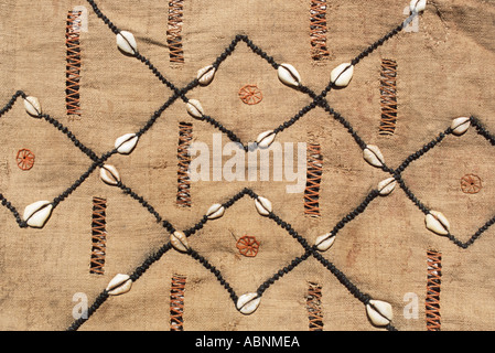 Woven raffia textile from The Democratic Republic of Congo DRC formerly known as Zaire Kuba tribe With Applique - Stock Photo