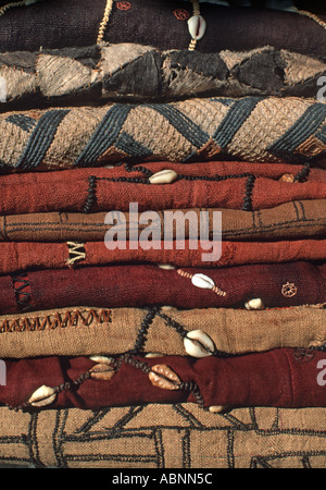 A stack of woven raffia textile from The Democratic Republic of Congo DRC formerly known as Zaire From the Kuba - Stock Photo