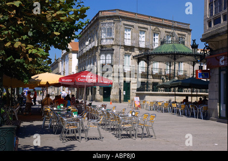 View of the historical town Tui on the border with Portugal & on the banks of the Mino river Tuy Galicia Spain España - Stock Photo