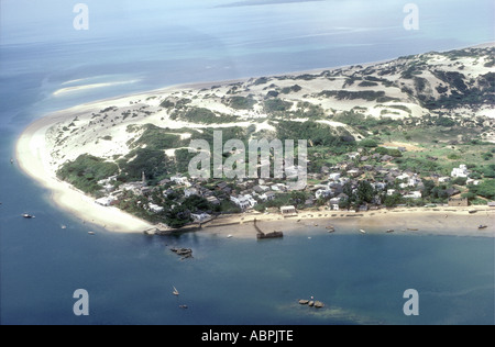 Aerial view of the village of Shela and Shela Beach on Lamu island Kenya coast Peponi s Hotel and jetty can be seen - Stock Photo