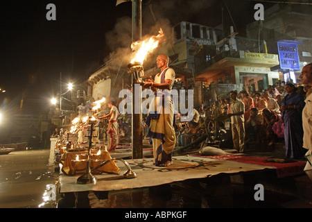 AAD79011 Ganga Aarti Varanasi Uttar Pradesh India - Stock Photo
