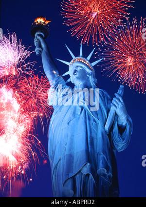 Statue of Liberty, Firework Display, New York, USA - Stock Photo