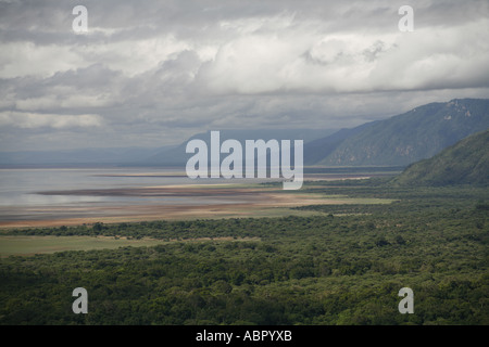View from E Unoto Lodge at the edge of Lake Manyara Nationl Park - Stock Photo