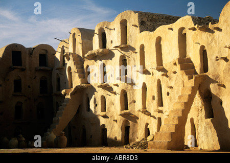 A honeycomb of abandoned four storey ghorfas in Ksar Ouled Soltane one of the best preserved and most delightful - Stock Photo
