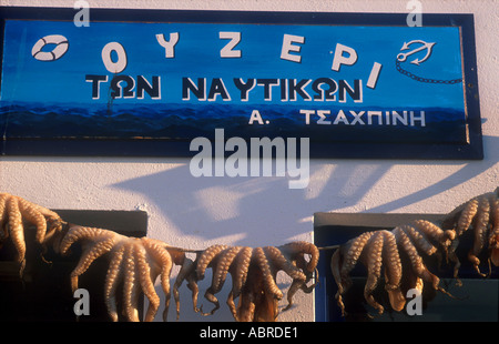 greece cyclades paros a wooden painted restaurant ouzeri sign with octopus hanging drying in naoussa - Stock Photo