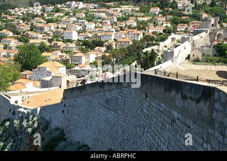 Dubrovnik Adriatic Croatia Dalmatia fortress walls overlooking the old city - Stock Photo