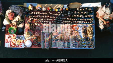 Aerial view of street vendor selling African crafts Gauteng Province South Africa Africa - Stock Photo