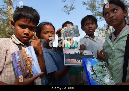 Children selling postcards at Angkor Wat - Stock Photo
