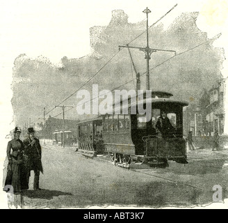 Salt Lake City, an electric tramway by overhead connection, 1891, USA - Stock Photo