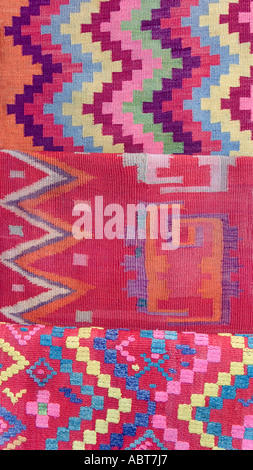 Detail of eyedazzling woven woollen blankets from Quechua peoples of Santiago del Estero in the Chaco region of - Stock Photo