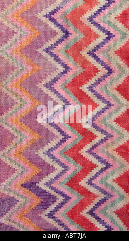 Detail of eyedazzling woven woollen blanket from Quechua peoples of Santiago del Estero in the Chaco region of N - Stock Photo