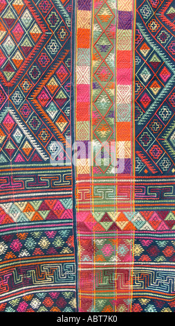 Bhutanese brocaded fabric with silk supplementary weft brocading Woven on a hip strap loom Bhutan - Stock Photo