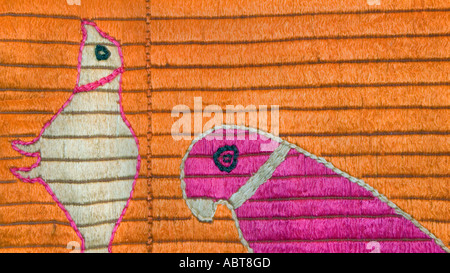 Detail of an embroidered Pulkhari textile from India - Stock Photo