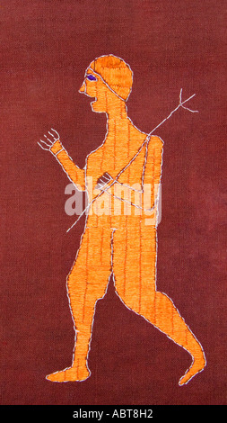 Detail of an embroidered Pulkhari textile from India Warrior with a spear - Stock Photo