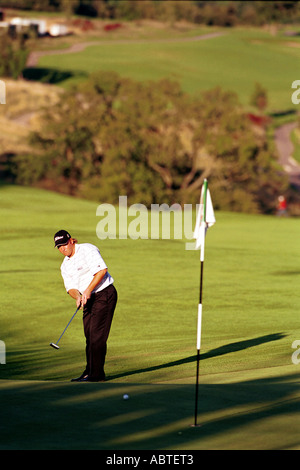 Jean Hugo of South Africa 18th Green Wales Open Golf Celtic Manor Newport South East Wales - Stock Photo