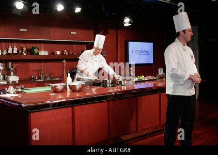 New York Atlantic Ocean Holland America Line ms Noordam Culinary Arts Center chef demonstration - Stock Photo