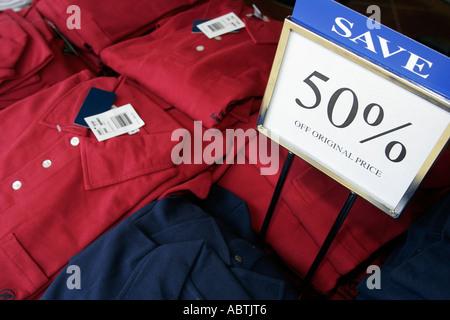 Puerto Rico Atlantic Ocean Holland America Line ms Noordam Shopping Arcade sign 50 per cent off clothing shirt - Stock Photo