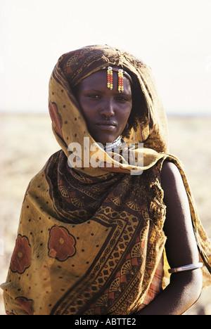 Portrait of Gabbra woman near Maikona Chalbi Desert northern Kenya East Africa - Stock Photo