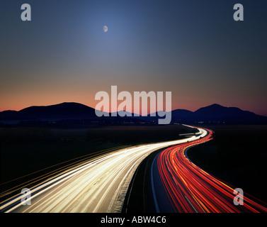 DE - BAVARIA: Motorway Munich to Salzburg by night - Stock Photo