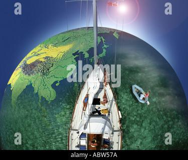 BH THE BAHAMAS Sailing the World - Stock Photo