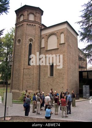 Tour group outside Cappella degli Scrovegni in Padua Italy - Stock Photo