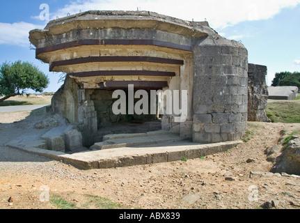 World War 2 bunker - German artillery gun emplacement bunker at Pointe Du Hoc, Normandy, France - Stock Photo