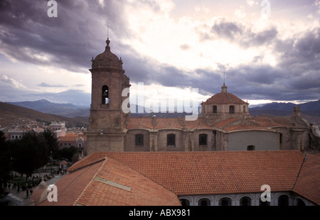 View from roof of Teatro Omiste looking W towards cathedral Potosi highest city of its size in the world Bolivia - Stock Photo