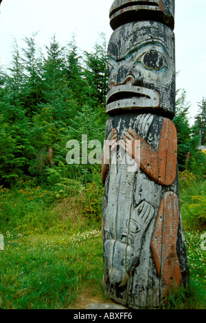 Totem pole Kake Tlingit Indian Village Alaska AK USA - Stock Photo
