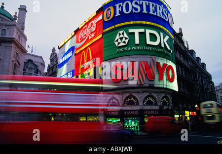 England Great Britain United Kingdom London UK Piccadilly Circus Double Decker Bus Europe - Stock Photo