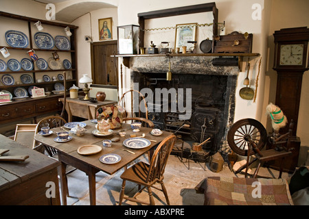 Museum display of Welsh farmhouse kitchen dating from about 1890 Wales UK - Stock Photo