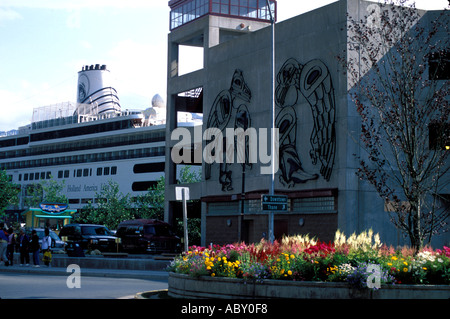 View of the downtown shopping area in Juneau AK Alaska - Stock Photo