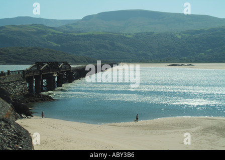 Barmouth Afon Mawddach estuary railway viaduct and footbridge with Cader Idris mountain range beyond - Stock Photo