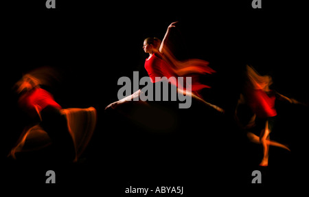 dancer wearing red triple jump motion capture - Stock Photo