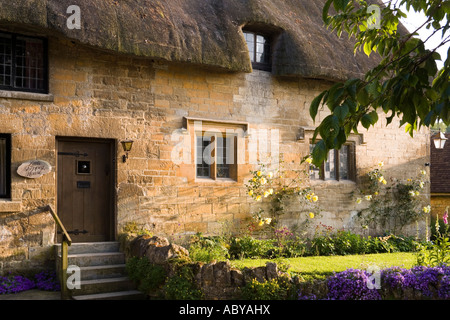Evening sunlight falling on Little Sheppey House in the Cotswold village of Stanton Gloucestershire - Stock Photo