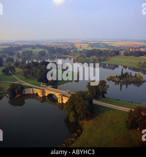 Lake at Blenheim Palace at sunset Oxfordshire UK aerial view - Stock Photo