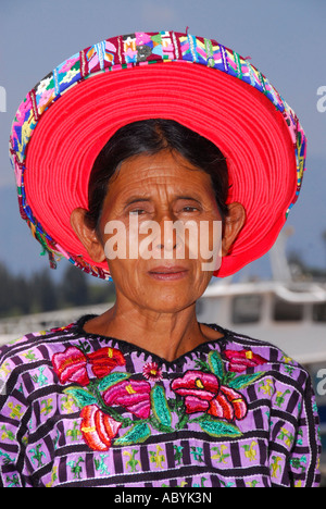 Indigenous Tzutujil woman, Santiago de Atitlan, Lake Atitlan, Guatemala, Central America - Stock Photo