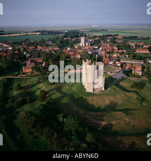 Orford Castle and village Suffolk UK aerial view - Stock Photo